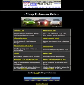 Original Mirage Performance homepage from 2001